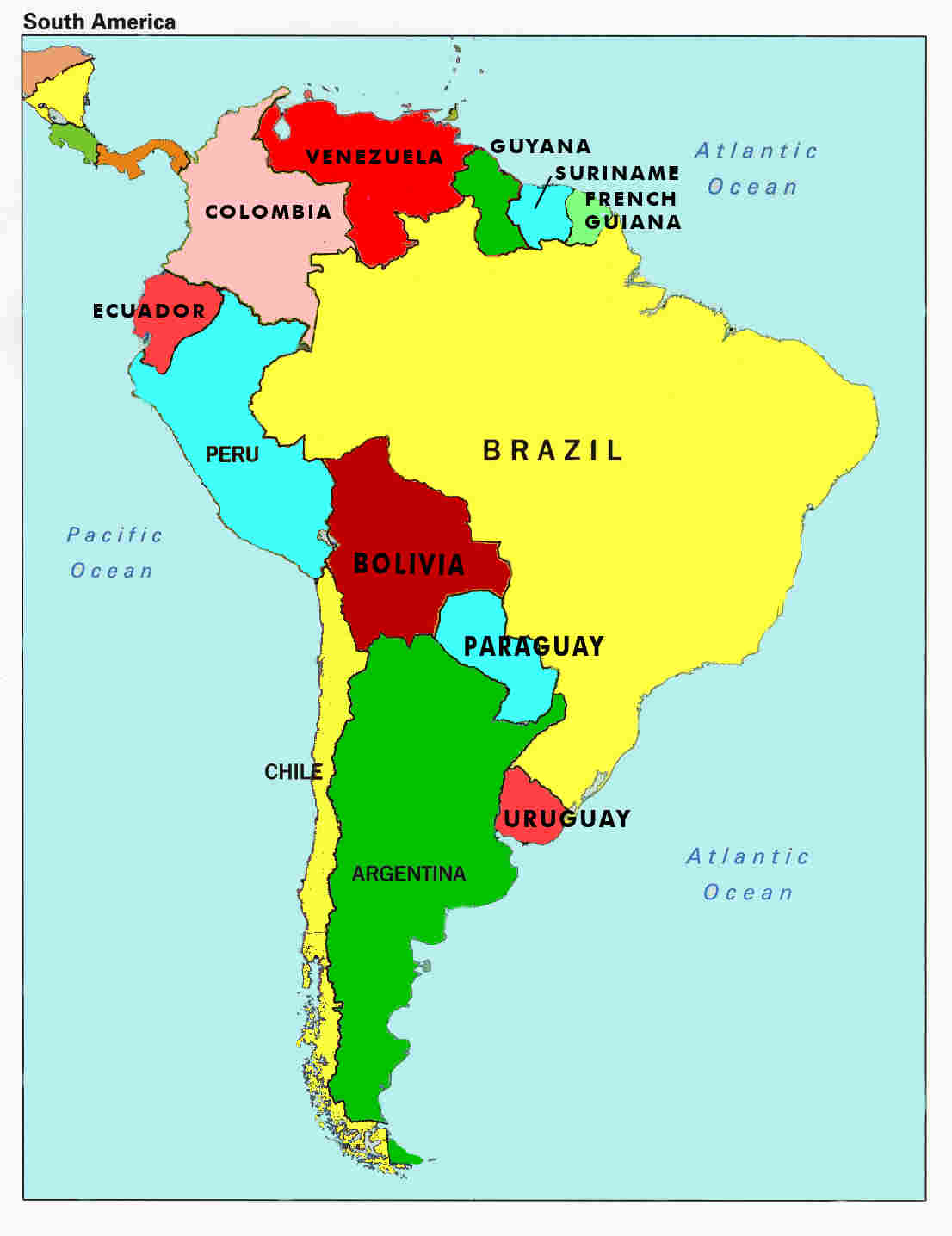 map of south america. locating countries on a map