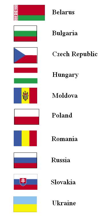 flags of the world with names. Flags of Eastern European